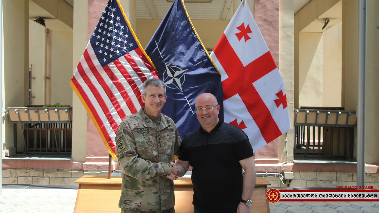 Levan Izoria met the US Forces in Afghanistan and the Resolute Support Mission John Nicholson